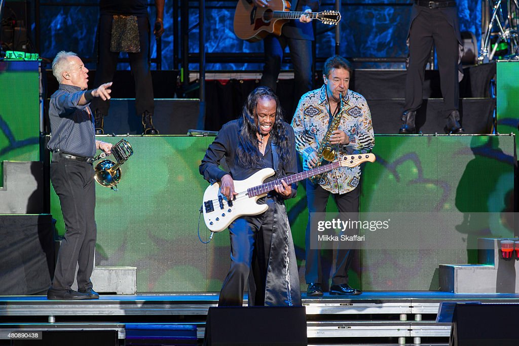James Pankow and Walter Parazaider of Chicago perform with Verdine White of Earth, Wind & Fire at Concord Pavilion on July 15, 2015 in Concord, California.