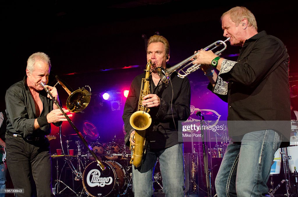 James Pankow, Walt Parazaider and Lee Loughnane of the rock band Chicago perform during the Musician's On Call 2012 Benefit at B.B. King Blues Club & Grill on November 19, 2012 in New York City.