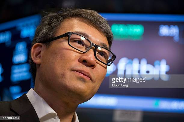 James Park chief executive officer of Fitbit Inc speaks during an interivew after the company's initial public offering on the floor of the New York...