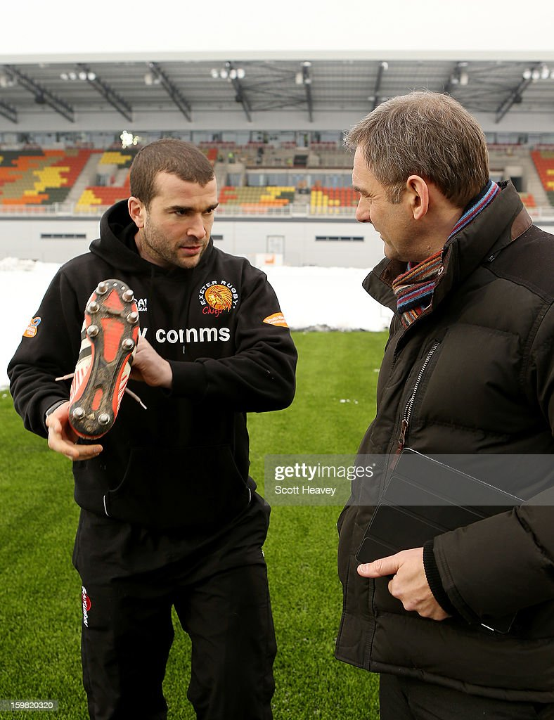 James Parks of Exeter Chiefs tests out footwear on the new synthetic pitch during a Saracens media day at Allianz Park on January 21, 2013 in Barnet, England.