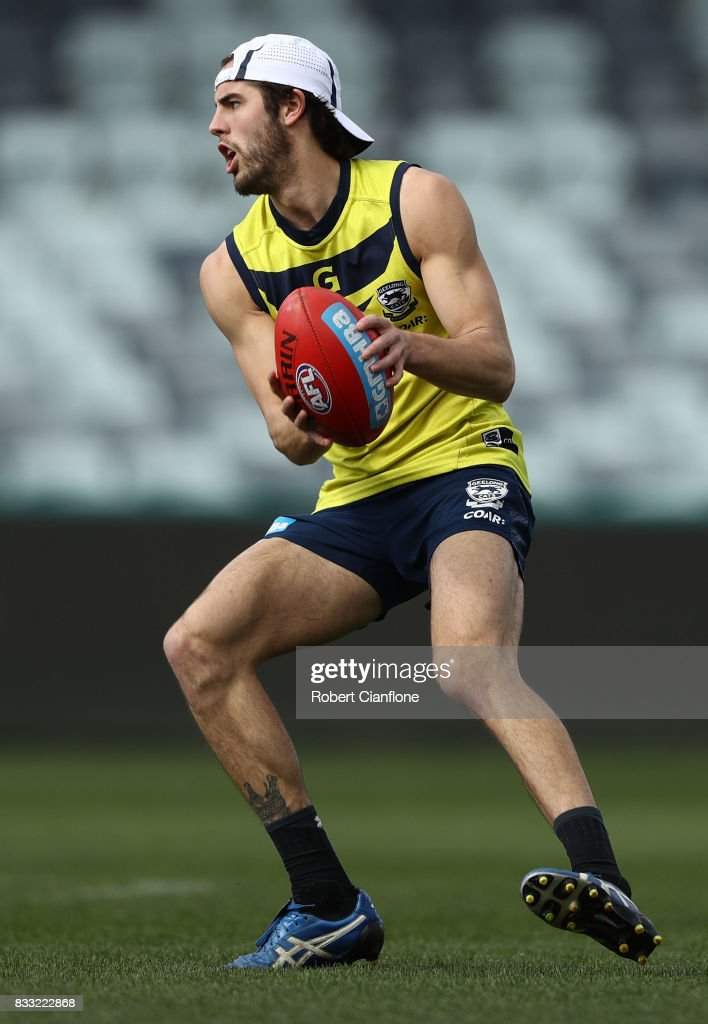 James Parsons of the Cats controls the ball during a Geelong Cats AFL training session at Simonds Stadium on August 17, 2017 in Geelong, Australia.