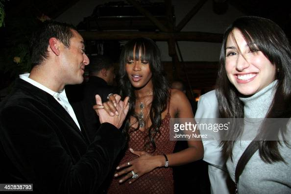James Patrick Naomi Campbell and guest during Naomi Campbell and Giuseppe Cipriani Holiday Party December 5 2005 at Cipriani in New York New York...