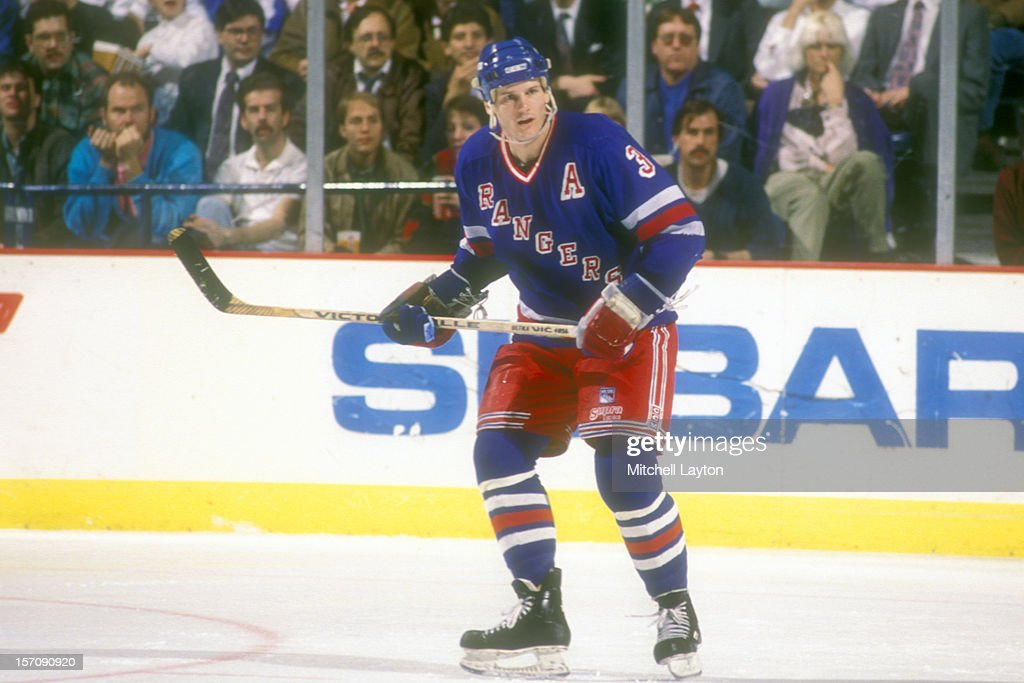 James Patrick of the New York Rangers looks on during a hockey game against the Washington Capitals on December 13 1989 at Capital Centre in Landover...