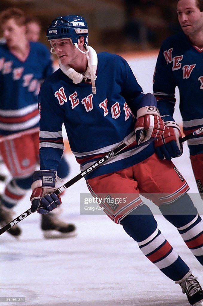 James Patrick of the New York Rangers takes warmup prior to a game against the Toronto Maple Leafs at Maple Leaf Gardens in Toronto Ontario Canada on...
