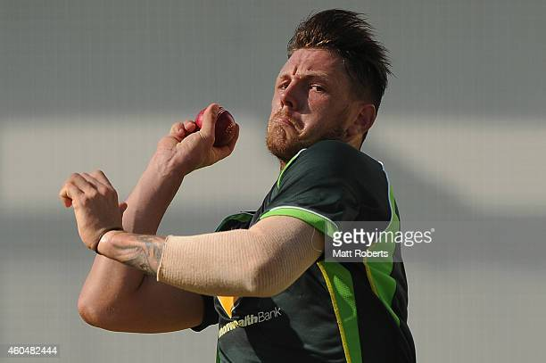 James Pattinson bowls during an Australian training session at The Gabba on December 15 2014 in Brisbane Australia