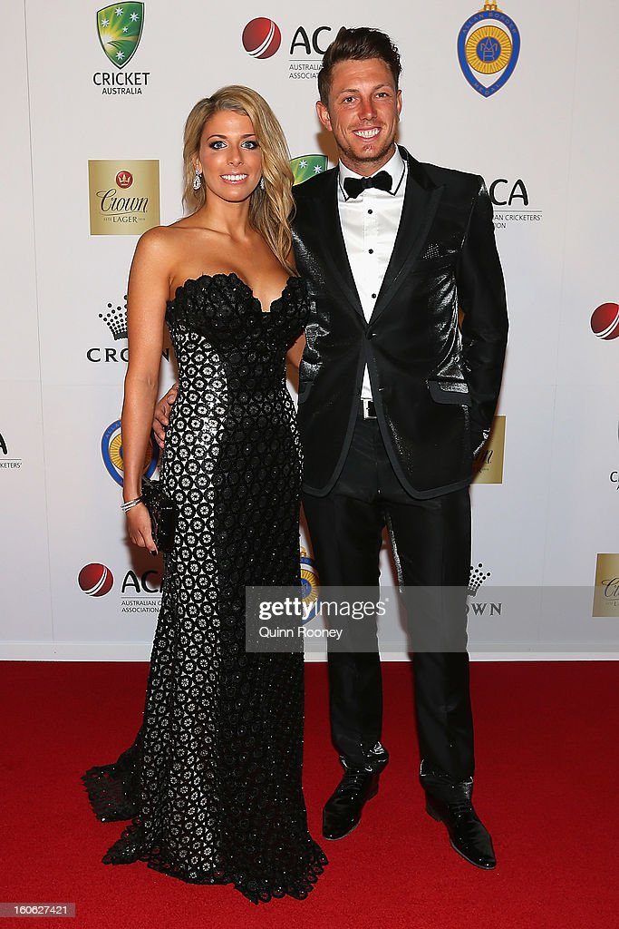 James Pattinson of Australia and his partner Kayla Dickson arrive at the 2013 Allan Border Medal awards ceremony at Crown Palladium on February 4, 2013 in Melbourne, Australia.
