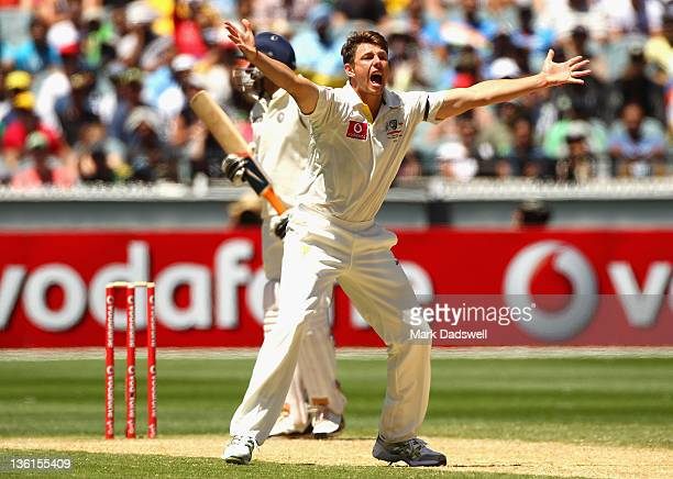 James Pattinson of Australia appeals for an LBW decision on Ravichandran Ashwin of India during day three of the First Test match between Australia...