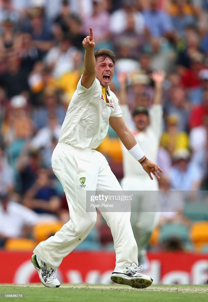 <a gi-track='captionPersonalityLinkClicked' href=/galleries/search?phrase=James+Pattinson&family=editorial&specificpeople=4884816 ng-click='$event.stopPropagation()'>James Pattinson</a> of Australia appeals for the wicket of Graeme Smith of South Africa during day one of the First Test match between Australia and South Africa at The Gabba on November 9, 2012 in Brisbane, Australia.
