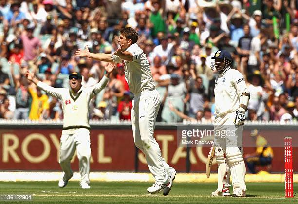 James Pattinson of Australia appeals for the wicket of Virender Sehwag of India during day two of the First Test match between Australia and India at...