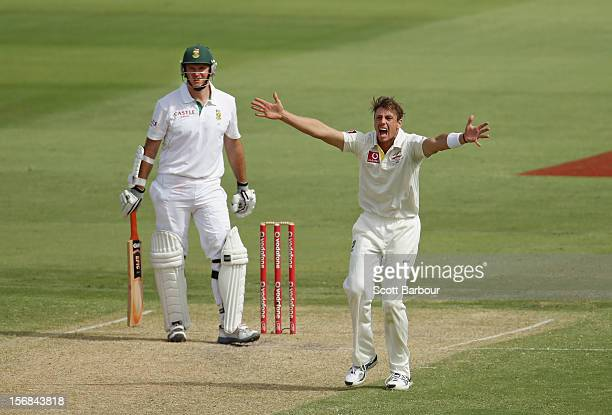 James Pattinson of Australia appeals successfully for the wicket of Graeme Smith of South Africa but the decision was later overturned by the third...