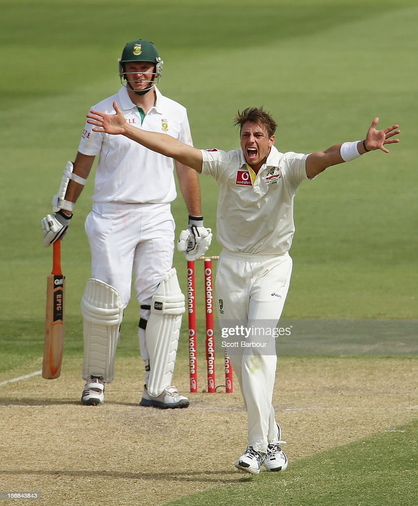 James Pattinson of Australia appeals successfully for the wicket of Graeme Smith of South Africa but the decision was later overturned by the third umpire during day two of the Second Test match between Australia and South Africa at Adelaide Oval on November 23, 2012 in Adelaide, Australia.