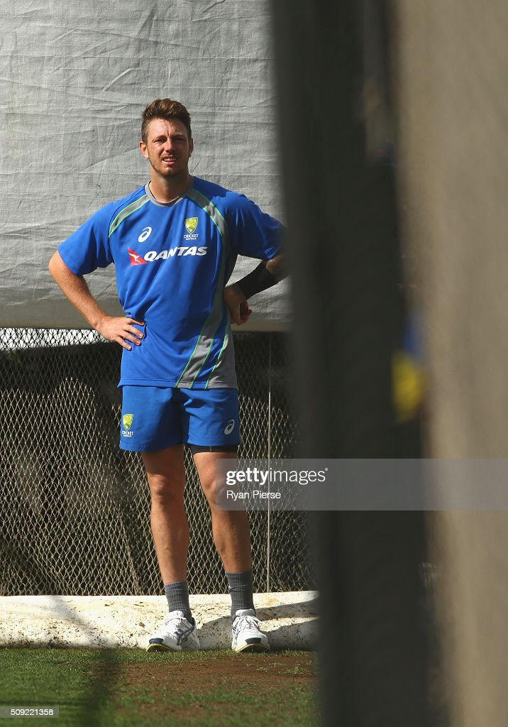 <a gi-track='captionPersonalityLinkClicked' href=/galleries/search?phrase=James+Pattinson&family=editorial&specificpeople=4884816 ng-click='$event.stopPropagation()'>James Pattinson</a> of Australia bowls during an Australian nets session at Basin Reserve on February 11, 2016 in Wellington, New Zealand.