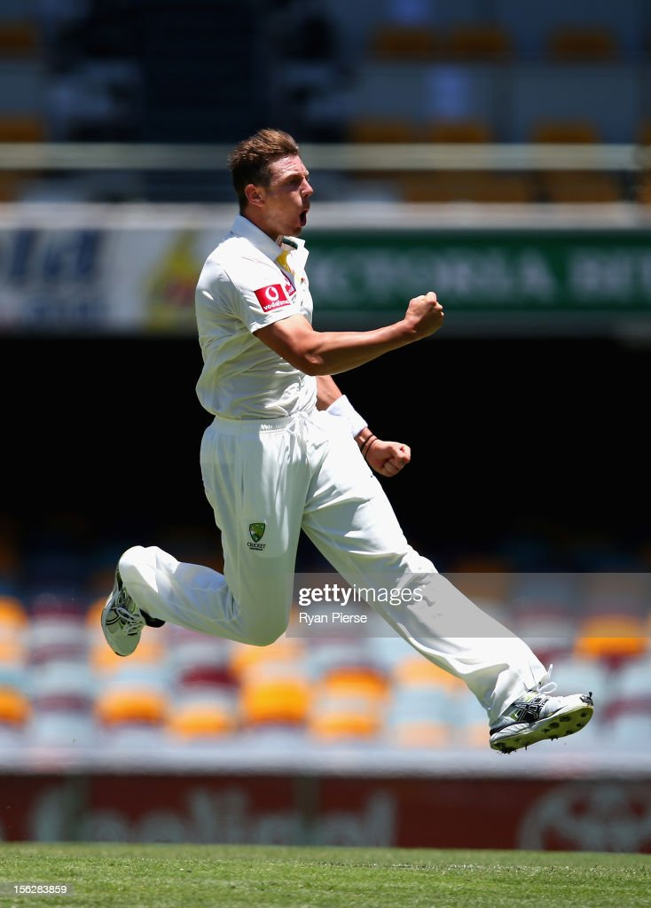<a gi-track='captionPersonalityLinkClicked' href=/galleries/search?phrase=James+Pattinson&family=editorial&specificpeople=4884816 ng-click='$event.stopPropagation()'>James Pattinson</a> of Australia celebrates after bowling Hashim Amla of South Africa before the deilvery was deemed a no ball during day five of the First Test match between Australia and South Africa at The Gabba on November 13, 2012 in Brisbane, Australia.