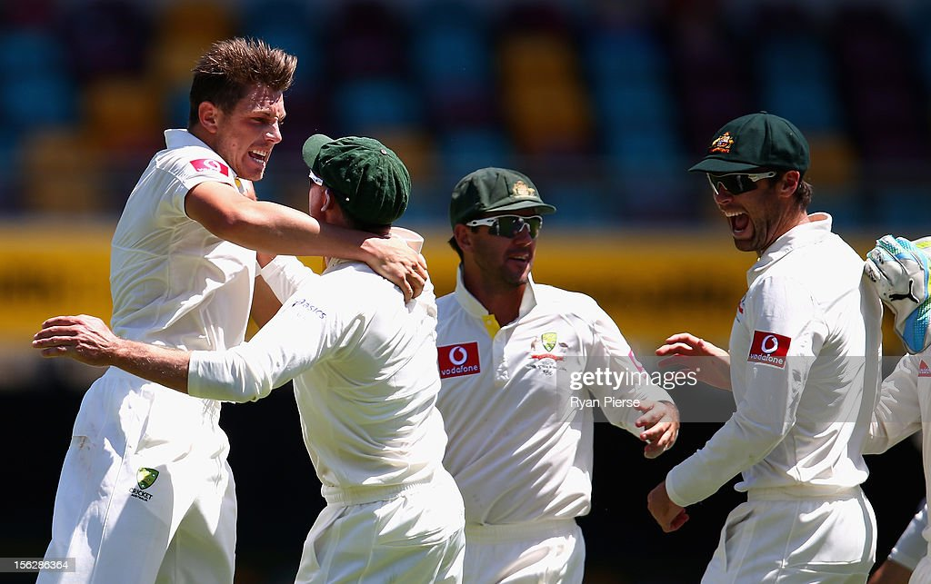 <a gi-track='captionPersonalityLinkClicked' href=/galleries/search?phrase=James+Pattinson&family=editorial&specificpeople=4884816 ng-click='$event.stopPropagation()'>James Pattinson</a> of Australia celebrates after taking the wicket of Graeme Smith of South Africa during day five of the First Test match between Australia and South Africa at The Gabba on November 13, 2012 in Brisbane, Australia.