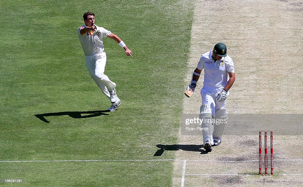 <a gi-track='captionPersonalityLinkClicked' href=/galleries/search?phrase=James+Pattinson&family=editorial&specificpeople=4884816 ng-click='$event.stopPropagation()'>James Pattinson</a> of Australia celebrates after taking the wicket of <a gi-track='captionPersonalityLinkClicked' href=/galleries/search?phrase=Graeme+Smith&family=editorial&specificpeople=193816 ng-click='$event.stopPropagation()'>Graeme Smith</a> of South Africa during day five of the First Test match between Australia and South Africa at The Gabba on November 13, 2012 in Brisbane, Australia.