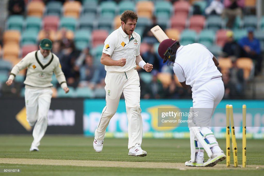 <a gi-track='captionPersonalityLinkClicked' href=/galleries/search?phrase=James+Pattinson&family=editorial&specificpeople=4884816 ng-click='$event.stopPropagation()'>James Pattinson</a> of Australia celebrates dismissing <a gi-track='captionPersonalityLinkClicked' href=/galleries/search?phrase=Darren+Bravo&family=editorial&specificpeople=4884685 ng-click='$event.stopPropagation()'>Darren Bravo</a> of the West Indies during day three of the First Test match between Australia and the West Indies at Blundstone Arena on December 12, 2015 in Hobart, Australia.