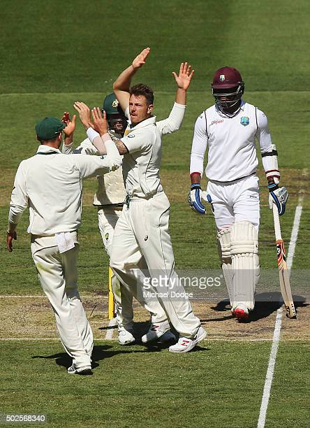James Pattinson of Australia celebrates his wicket of Marlon Samuels of the West Indiesduring day two of the Second Test match between Australia and...
