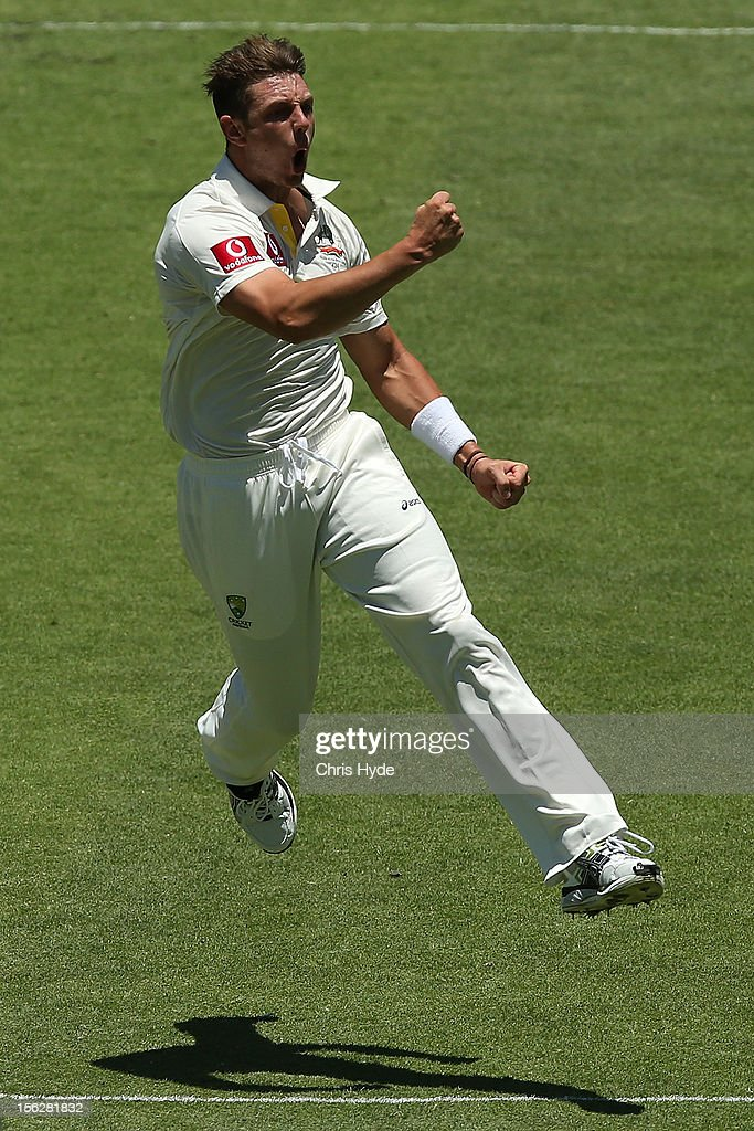 <a gi-track='captionPersonalityLinkClicked' href=/galleries/search?phrase=James+Pattinson&family=editorial&specificpeople=4884816 ng-click='$event.stopPropagation()'>James Pattinson</a> of Australia celebrates the no ball wicket of Hashim Amla of South Africa during day five of the First Test match between Australia and South Africa at The Gabba on November 13, 2012 in Brisbane, Australia.