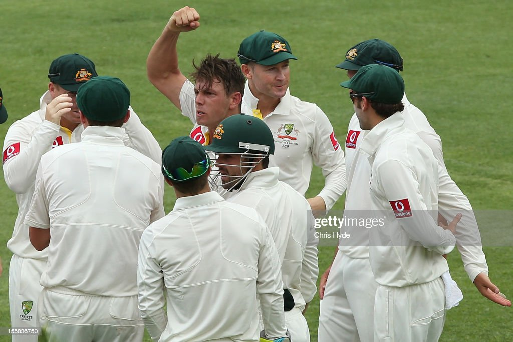 <a gi-track='captionPersonalityLinkClicked' href=/galleries/search?phrase=James+Pattinson&family=editorial&specificpeople=4884816 ng-click='$event.stopPropagation()'>James Pattinson</a> of Australia celebrates the wicket of Graeme Smith of South Africa during day one of the First Test match between Australia and South Africa at The Gabba on November 9, 2012 in Brisbane, Australia.