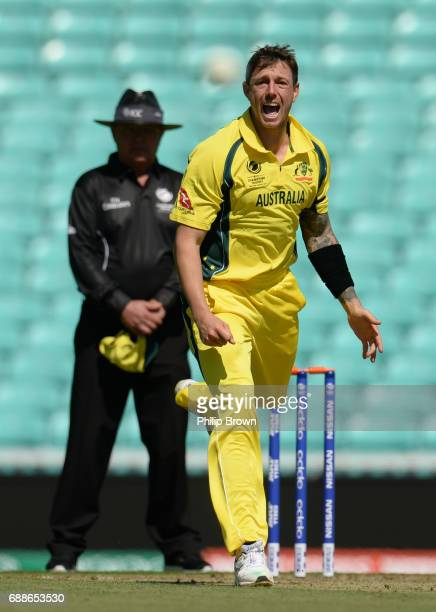 James Pattinson of Australia reacts during the ICC Champions Trophy Warmup match between Australia and Sri Lanka at the Kia Oval cricket ground on...