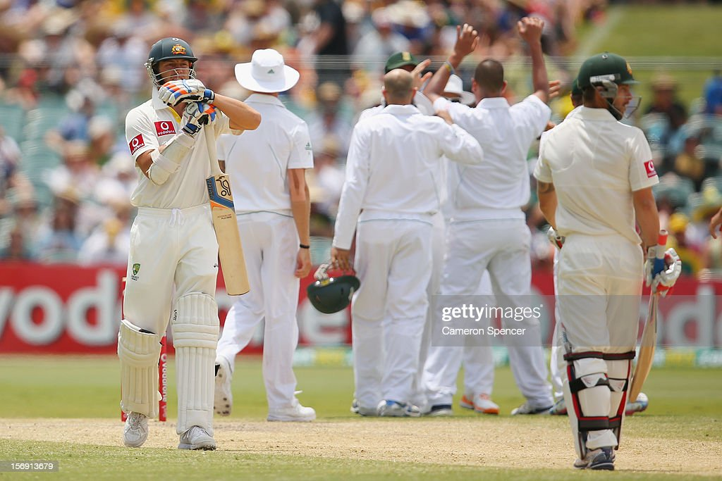 James Pattinson of Australia requests a third umpire review after Rory Kleinveldt of South Africa appealed for his dismissal for lbw during day four of the Second Test Match between Australia and South Africa at Adelaide Oval on November 25, 2012 in Adelaide, Australia.