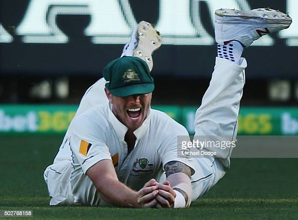James Pattinson of Australia take the matvh winning catch during day four of the Second Test match between Australia and the West Indies at Melbourne...