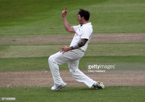 James Pattinson of Nottinghamshire celebrates the wicket of Laurie Evans of Sussex during day two of the Specsavers County Championship Division Two...