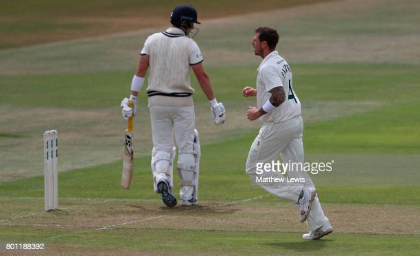 James Pattinson of Nottinghamshire celebrates the wicket of Sean Dickson of Kent after he was bowled LBW during the Specsavers County Championship...