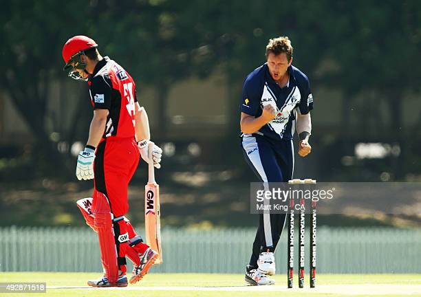 James Pattinson of the Bushrangers celebrates taking the early wicket of Travis Head of the Redbacks during the Matador BBQs One Day Cup match...