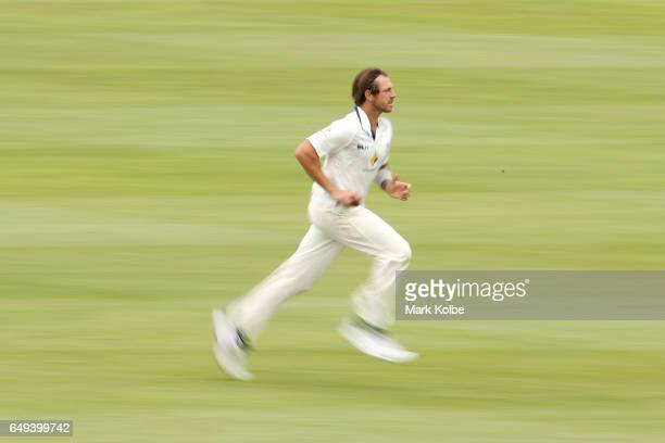 James Pattinson of the Bushrangers runs in to bowl during the Sheffield Shield match between Victoria and Western Australia at Traeger Park on March...