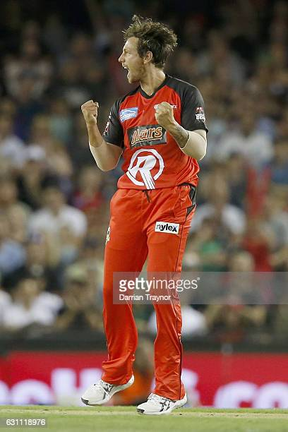 James Pattinson of the Melbourne Renegades celebrates the wicket of Luke Wright of the Melbourne Stars during the Big Bash League match between the...