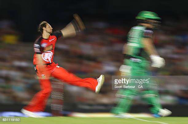 James Pattinson of the Renegades bowls during the Big Bash League match between the Melbourne Renegades and the Melbourne Stars at Etihad Stadium on...