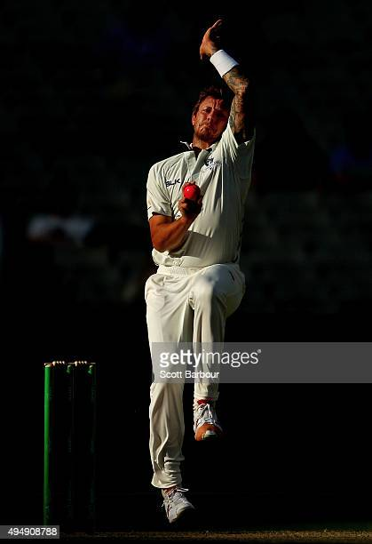 James Pattinson of Victoria bowls during day three of the Sheffield Shield match between Victoria and Queensland at Melbourne Cricket Ground on...