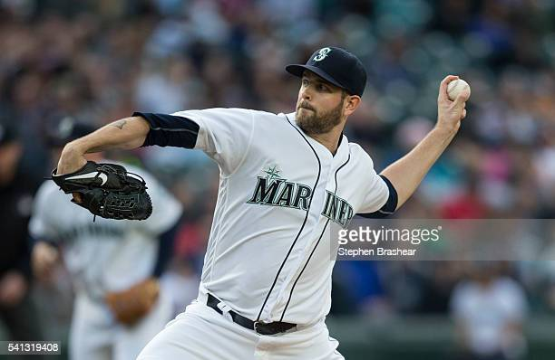 James Paxton of the Seattle Mariners delivers a pitch during a game against the Texas Rangers at Safeco Field on June 11 2016 in Seattle Washington...