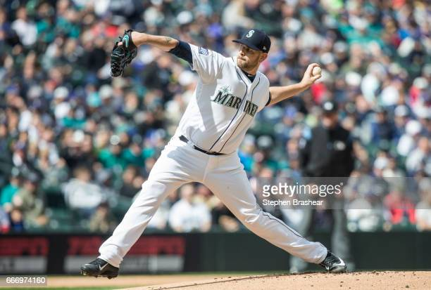 James Paxton of the Seattle Mariners delivers a pitch during the first inning against the Houston Astros in the home opener at Safeco Field on April...