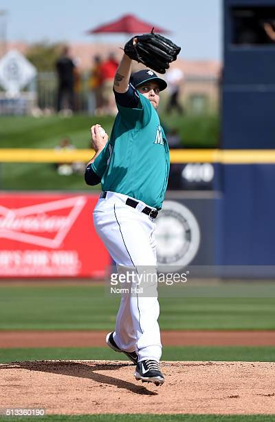 James Paxton of the Seattle Mariners delivers a warm up pitch prior to the first inning against the San Diego Padres at Peoria Stadium on March 2...
