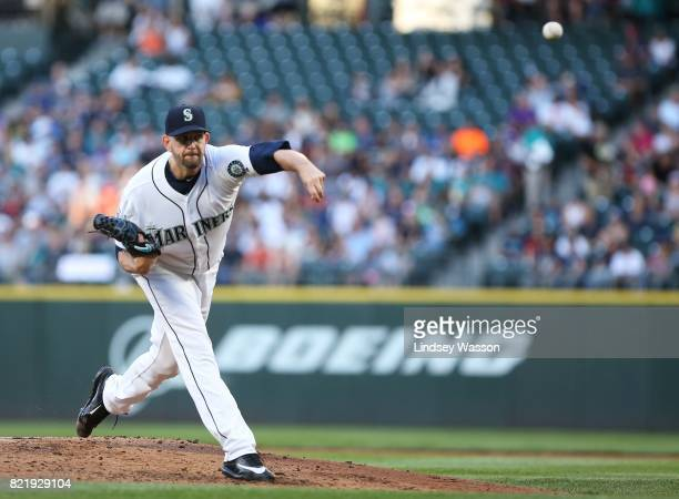 James Paxton of the Seattle Mariners pitches against the Boston Red Sox in the third inning at Safeco Field on July 24 2017 in Seattle Washington