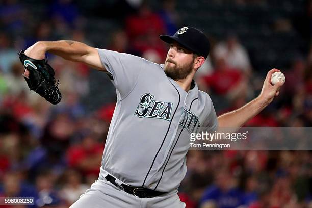 James Paxton of the Seattle Mariners pitches against the Texas Rangers in the bottom of the fourth inning at Globe Life Park in Arlington on August...