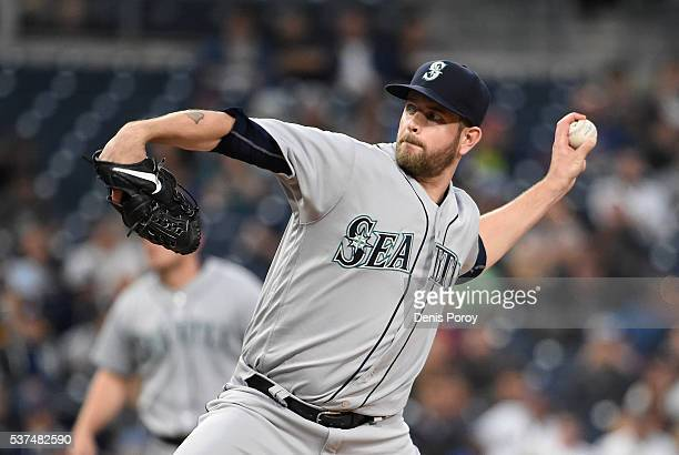 James Paxton of the Seattle Mariners pitches during the first inning of a baseball game against the San Diego Padres at PETCO Park on June 1 2016 in...