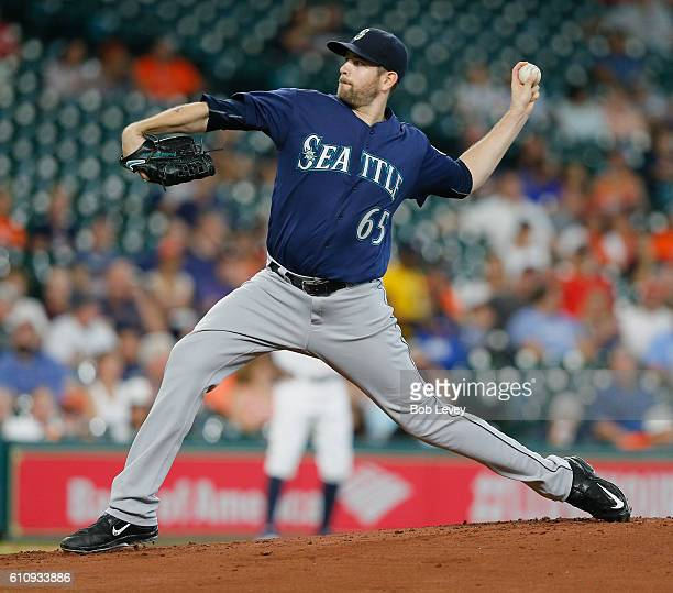 James Paxton of the Seattle Mariners pitches in the first inning against the Houston Astros at Minute Maid Park on September 28 2016 in Houston Texas