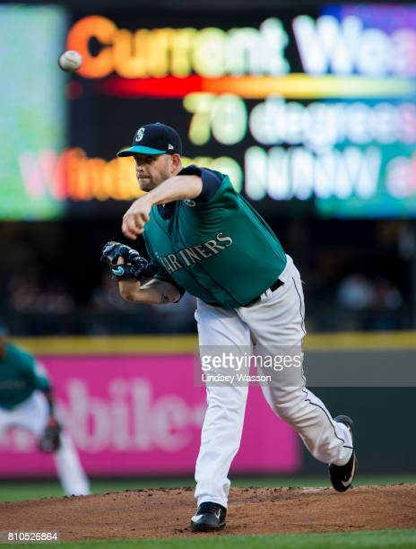 James Paxton of the Seattle Mariners pitches in the first inning against the Oakland Athletics at Safeco Field on July 7 2017 in Seattle Washington