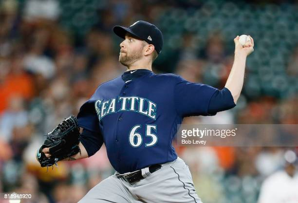 James Paxton of the Seattle Mariners pitches in the first inning against the Houston Astros at Minute Maid Park on July 19 2017 in Houston Texas