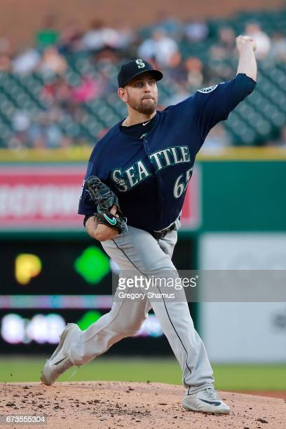 James Paxton of the Seattle Mariners throws a firstinning pitch while playing the Detroit Tigers at Comerica Park on April 26th 2017 in Detroit...
