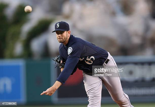 James Paxton of the Seattle Mariners throws a pitch against the Los Angeles Angels of Anaheim at Angel Stadium of Anaheim on May 5 2015 in Anaheim...