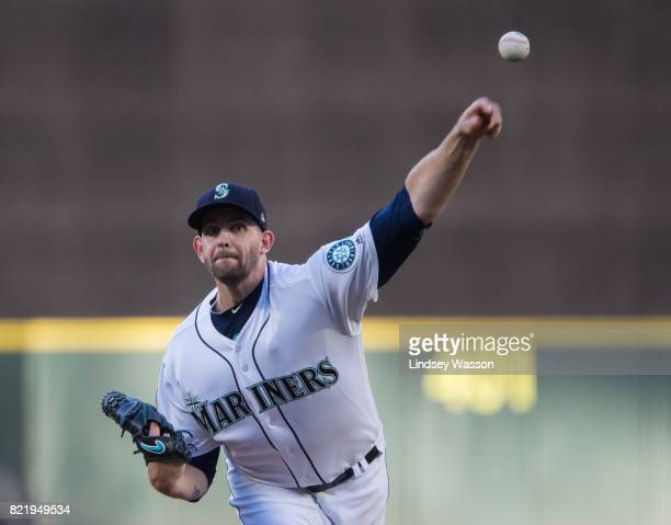 James Paxton of the Seattle Mariners throws against the Boston Red Sox in the first inning at Safeco Field on July 24 2017 in Seattle Washington...