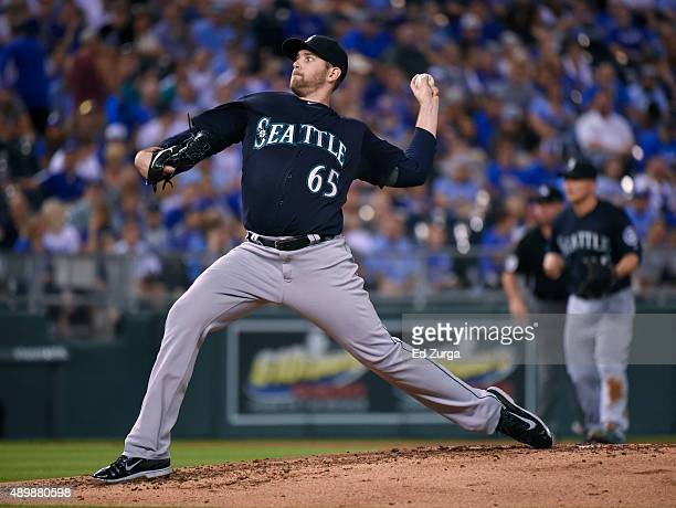 James Paxton of the Seattle Mariners throws in the first inning against the Kansas City Royals at Kauffman Stadium on September 24 2015 in Kansas...