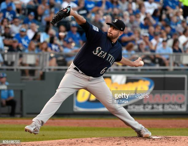 James Paxton of the Seattle Mariners throws in the first inning against the Kansas City Royals at Kauffman Stadium on August 4 2017 in Kansas City...