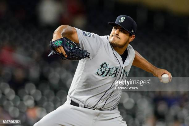 James Pazos of the Seattle Mariners delivers a pitch against the Minnesota Twins during the game on June 12 2017 at Target Field in Minneapolis...