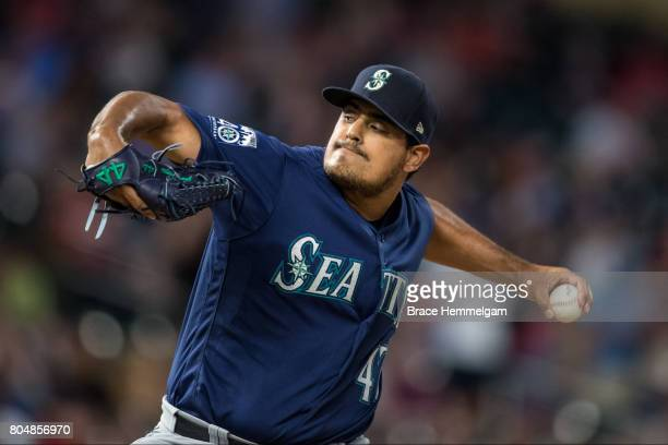 James Pazos of the Seattle Mariners pitches against the Minnesota Twins on June 14 2017 at Target Field in Minneapolis Minnesota The Mariners...