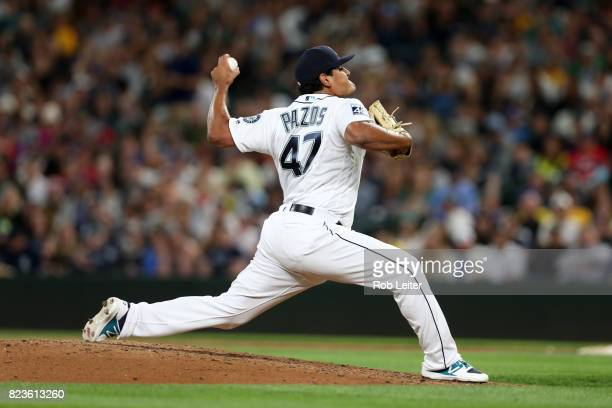 James Pazos of the Seattle Mariners pitches during the game against the New York Yankees at Safeco Field on July 20 2017 in Seattle Washington The...
